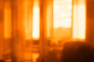 Indoor sunset window bokeh background