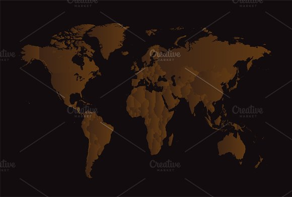 World Map Brown With Borders