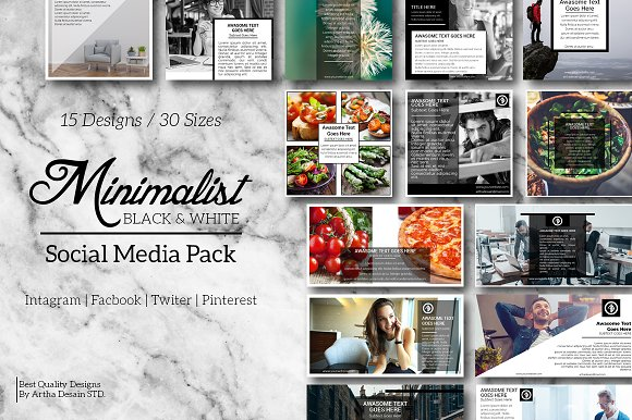 Black White Social Media Pack