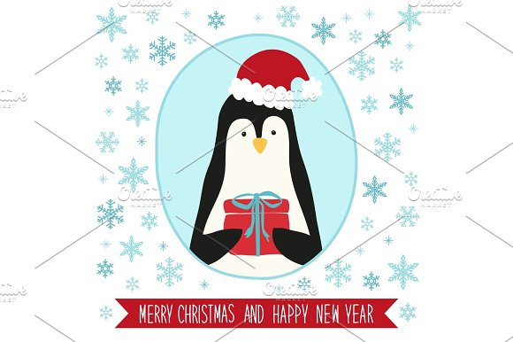 Cute Retro Card With Funny Cartoon Character Of Penguin