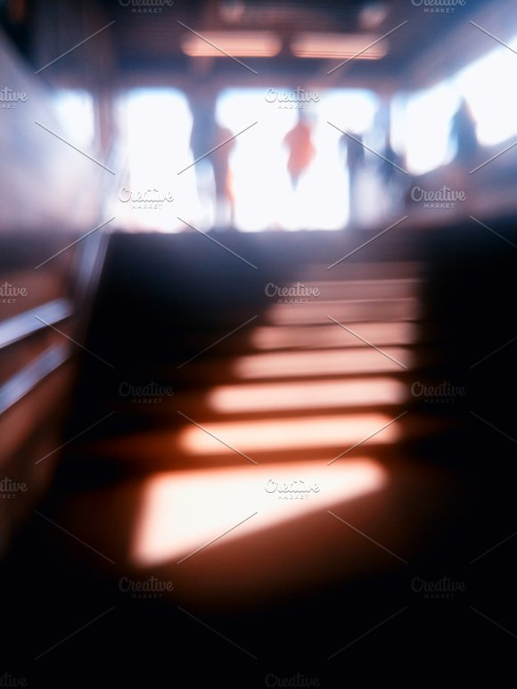 Diagonal Metro Station Stairs Bokeh Background