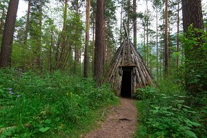 Old hovel of ancient altai people