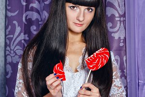 Girl and lollipop broken heart