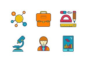 Lineart colored education iconset