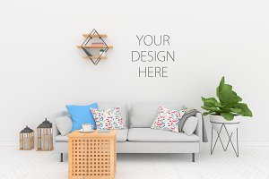 Blank wall mock up - interior mockup
