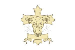 Taurus Bull Christian Cross Drawing