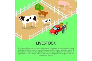 Farm with Livestock and Text Information below