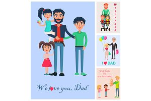 We Love Dad Banner of Man with Three Children