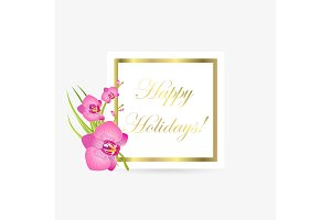 Cute Congratulation Postcard with Orchid Flowers