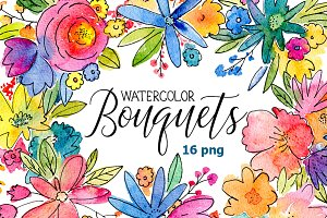 Watercolor bouquets of flowers