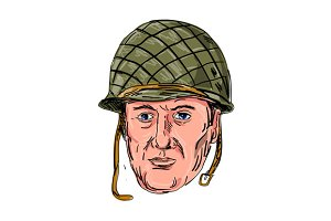 World War Two American Soldier Head