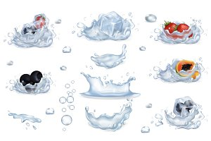 Water Splashes and Frozen Fruits and Berries Set