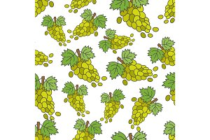 Grape Flat Vector Seamless Pattern on White