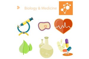 Biology and Medecine Poster with Illustrations Set