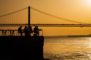 Sunset at the Lisbon bridge