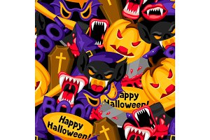 Happy Halloween seamless pattern with cartoon holiday symbols