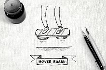 Hover board hand drawn illustration