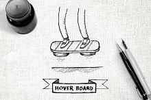 Hover board hand drawn illustration