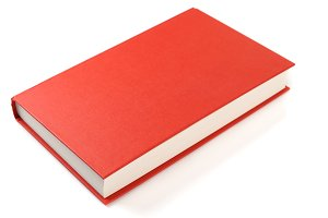 Bright red book isolated on white