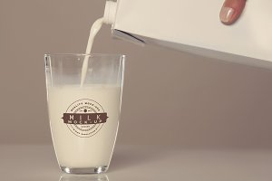 Milk Bottle/Glass Mock-up #20