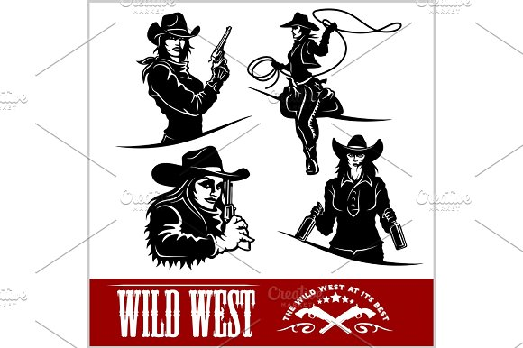 Silhouettes Of Western Cowgirls Vector Illustration