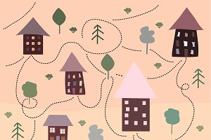 Cute houses in vector