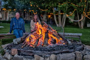 Couple Enjoying Backyard Bonfire