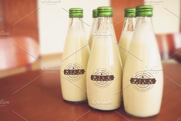 Free Milk Bottle/Glass Mock-up #24