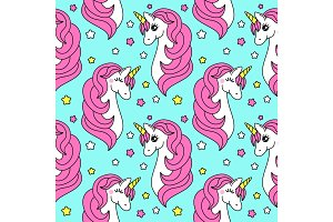 Cute childish seamless pattern with cartoon character of magic unicorn