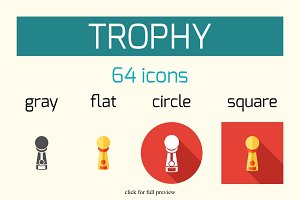 64 Award and Trophy vector icons