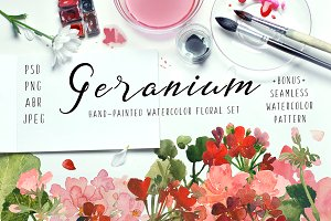 Geranium - Floral Watercolor Set