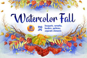 Watercolor Fall Floral Clip Art