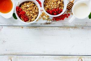 Delicious breakfast with granola