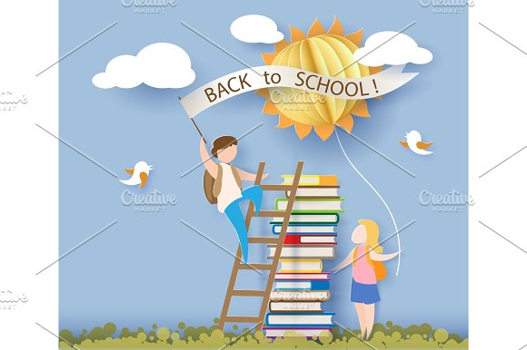 Back To School Card With Kids Books And Sun