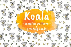 Koala. Patterns and greeting cards.
