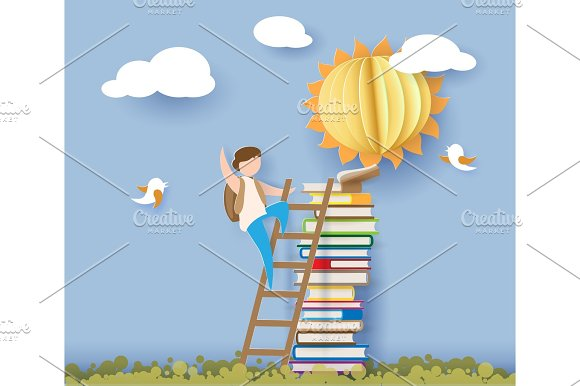 Back To School Card With Boy Books And Sun