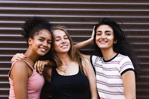 Smiling female friends