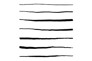 Abstract line ink stroke set vector