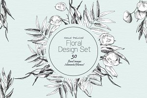 Hand-Painted  Floral  Design Set