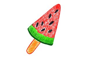 Watermelon ice-cream eskimo sketch