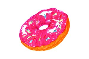 Sweet donut baked food sketch art