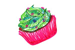 Sweet cream cupcake sketch art