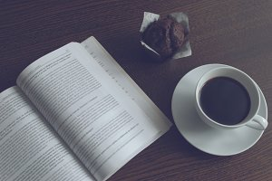 The book, coffee and muffin