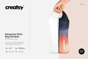 Neoprene Wine Bag Double Mockup Set