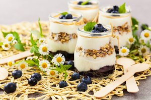 Yogurt Dessert with Blueberries