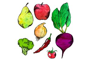 Vegetable fruit sketch set vector