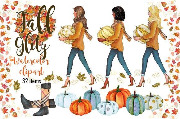 Fall Glitz Watercolor Clipart
