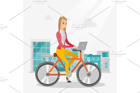 Business Woman Riding A Bicycle With A Laptop