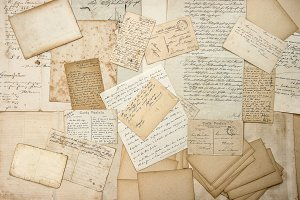 Old handwritings, vintage postcards