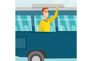 Young caucasian man waving hand from bus window.